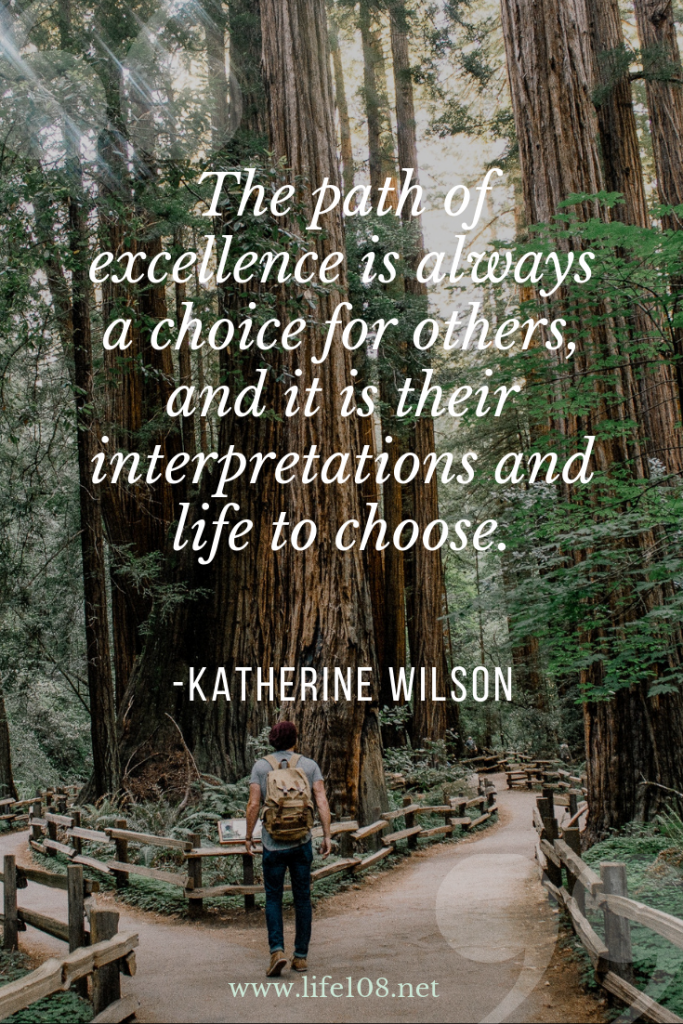 The path of excellence is always a choice for others, and it is their interpretations and life to choose.